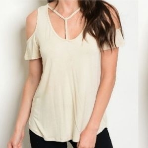 Braided Caged Cold Shoulder Top